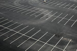 Parking Lot With Freshly Painted White Lines